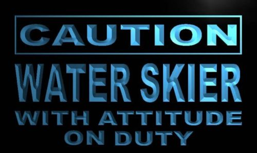 Caution Water Skier on Duty Neon Light Sign